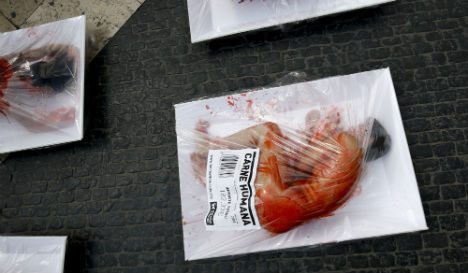 Vegans get naked and bloody at Barcelona anti-meat protest