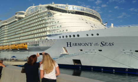 It's enormous! World's largest cruise ship sails into Malaga