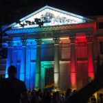 Spain's parliament building lit up in rainbow colours for Pride 2016. Photo: Sara Houlison