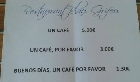 Spanish café offers cut-price coffee to those with manners