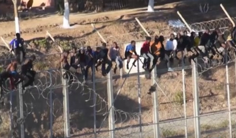 Dozens stuck on border fence for hours in bid to enter Spain