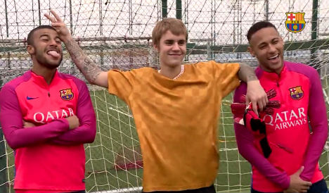 This is what happened when Justin Bieber met Barça