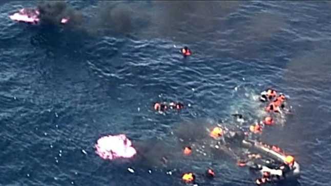 VIDEO: Dramatic footage shows migrants rescued from burning boat