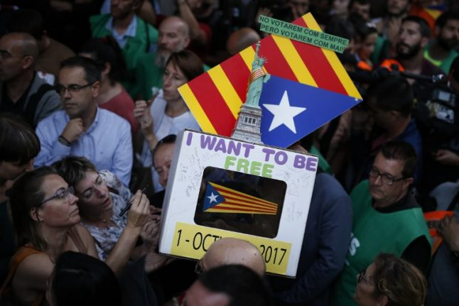 Protesters gather in Barcelona as Catalan referendum dealt a blow