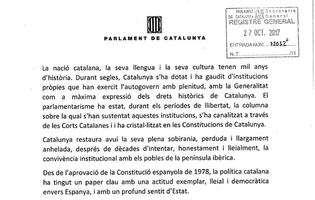 'We establish the Catalan republic as an independent state': Catalan separatists file resolution ahead of independence declaration