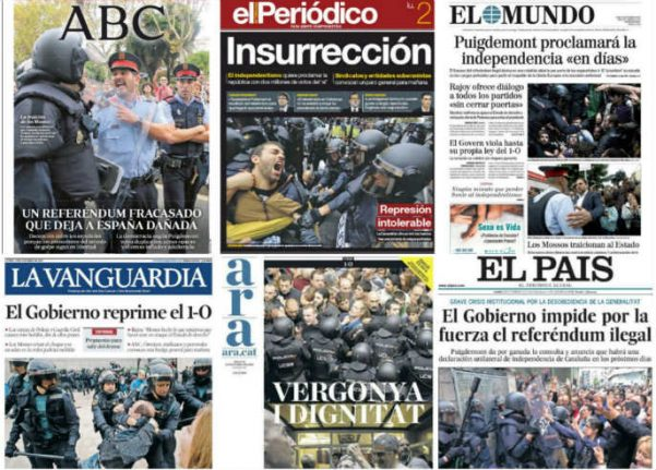 Spanish press review: From repression to the 'treachery' of Catalan police