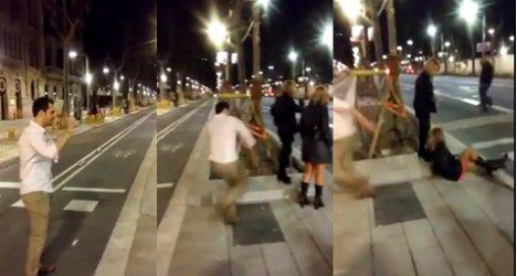 Woman kicked to the ground in Barcelona video prank wins €60K compensation
