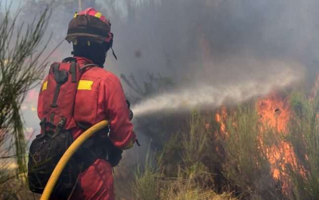 Firefighters battle wildfire threatening natural park in southern Spain