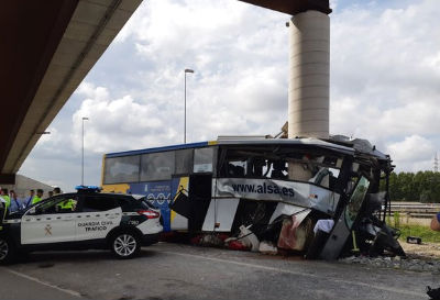 At least five dead as bus rams viaduct in Avilés