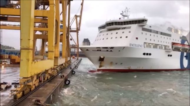 Video: Fire breaks out at Barcelona port as ferry crashes into crane