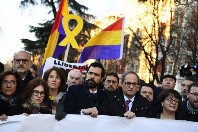 Catalan separatists' long-awaited trial begins amid protests