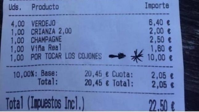 Spanish bar bill goes viral after waitress turns tables on 'annoying' customer