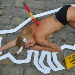 WATCH: Topless animal rights activists stage protest ahead of Pamplona's running of the bulls fiesta
