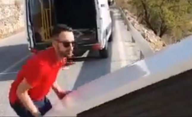 VIDEO: Man who 'recycled' fridge by throwing it off a cliff in southern Spain made to drag it back up