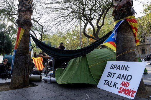 IN PICS: 'October 14 generation' stage student protest camp in Barcelona