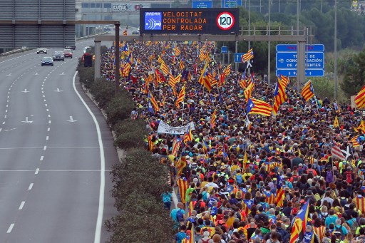 IN PICS: 'Freedom marchers' from across Catalonia converge on Barcelona