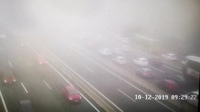 Broken water pipe and fog cause Madrid travel chaos on roads and rail