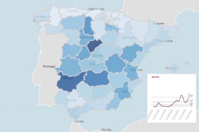 LATEST: The maps and charts that show where Covid rates are rising rapidly in Spain