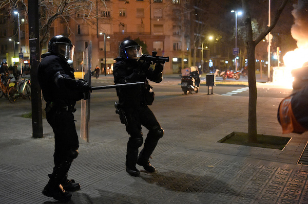 Third night of violence after Spain rapper protests
