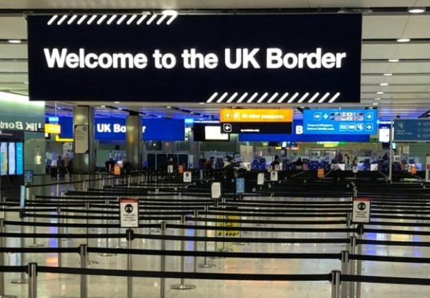 A UK border sign welcomes passengers, but those who have recovered from Covid still face quarantine.